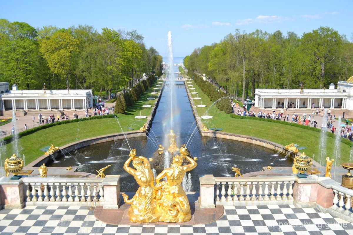 Marine Canal and Big Cascade in Peterhof