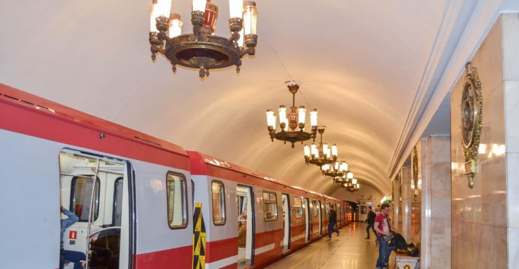 St Petersburg Subway Train Red and White color