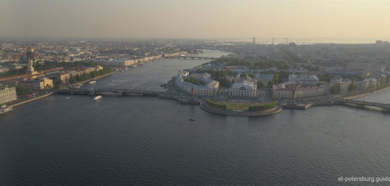 the Neva river Panorama Top View