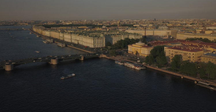 view of the Neva River and the Palace Bridge
