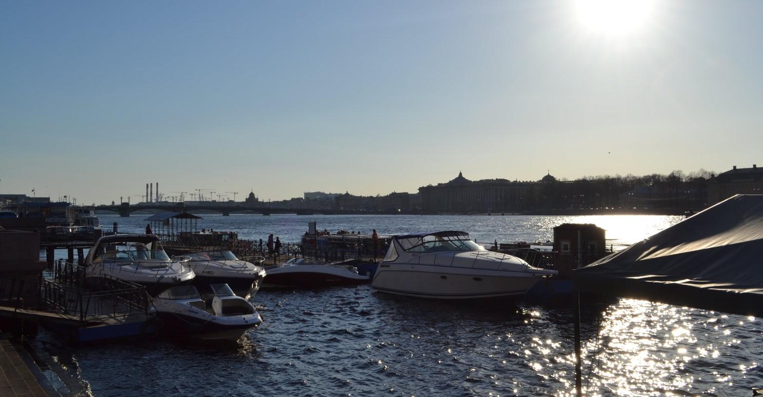 Boats on the Neva river