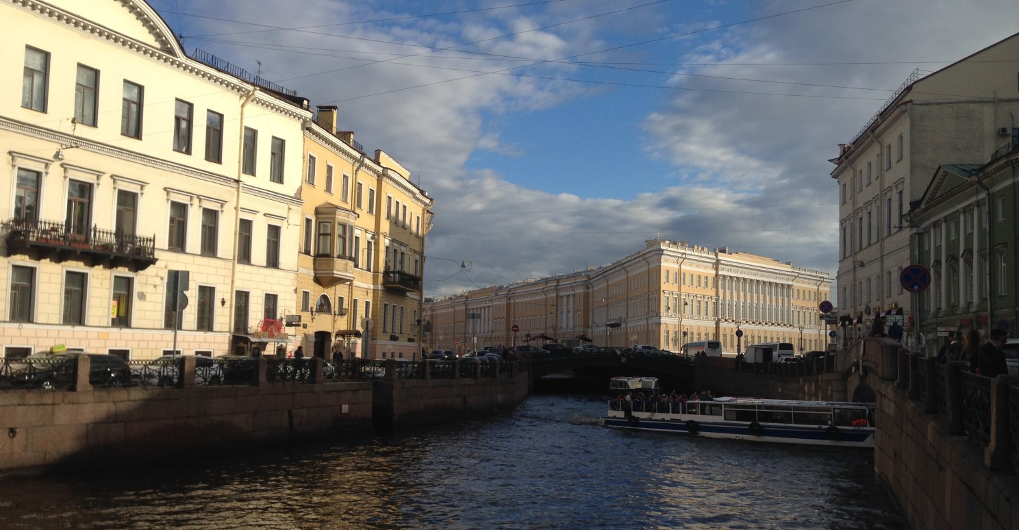 boat on the channel in St Petersburg