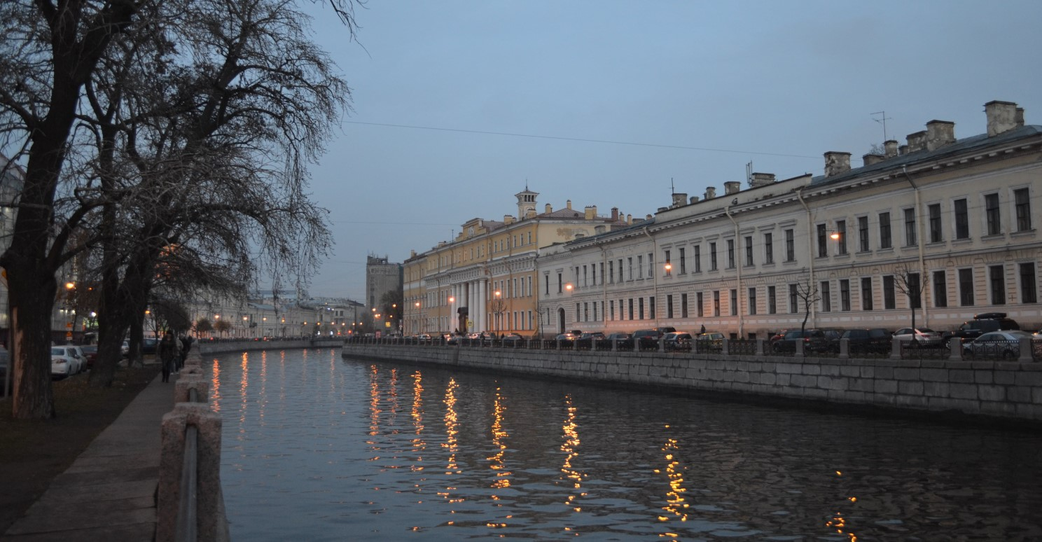 evening St Petersburg view to the Fontanka river