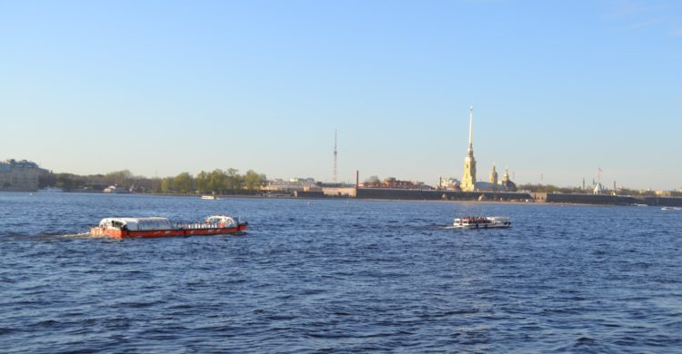 view to Peter and Paul fortress from the Neva river