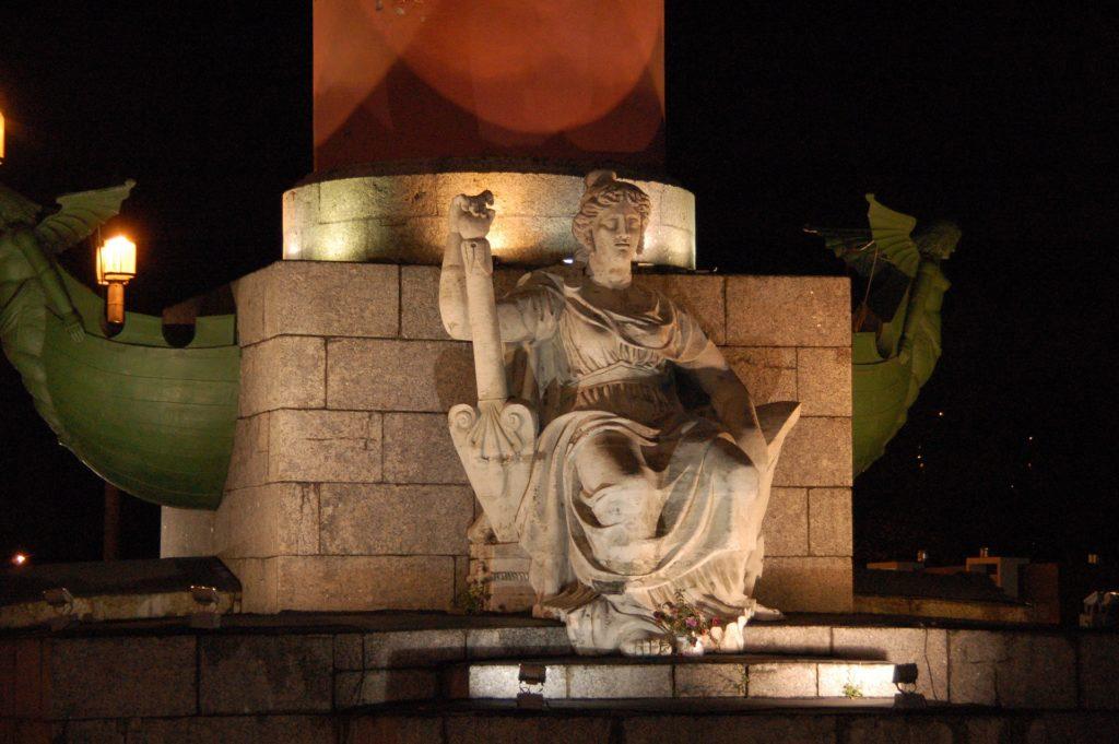 statue under rostral column