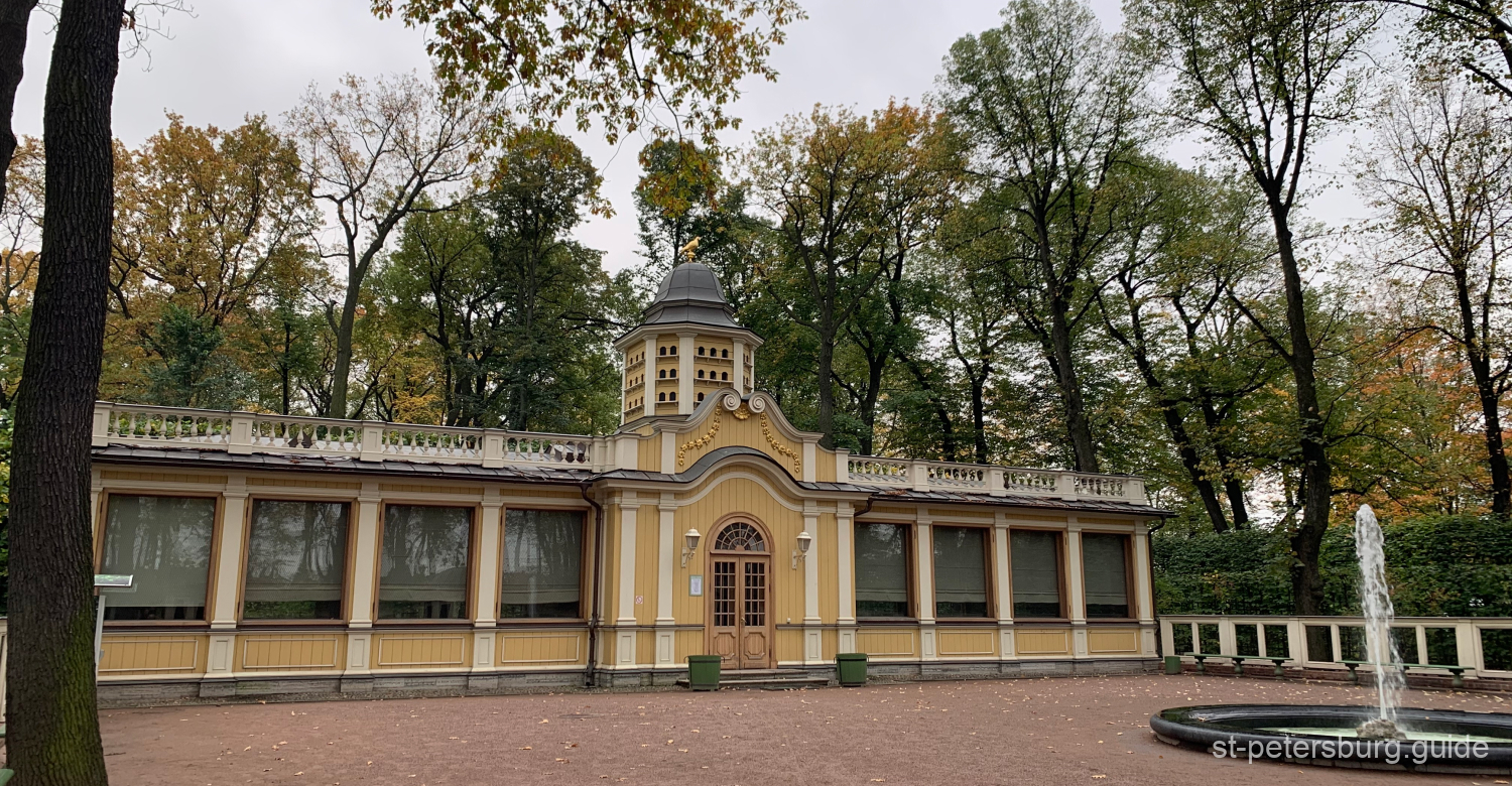 Closed pavilion with a fountain in front. Summer Garden in Saint Petersburg Russia