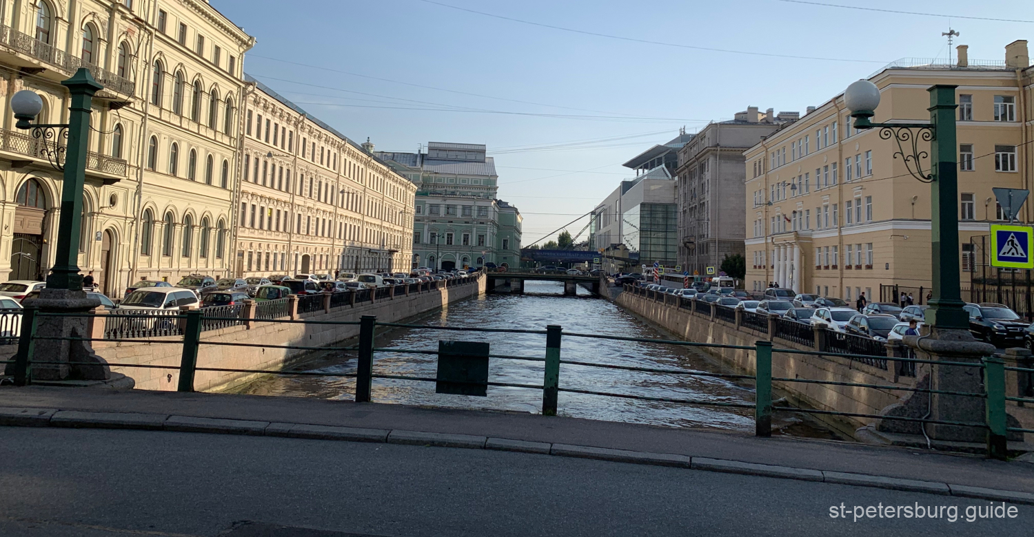 Distant view on the passage of Mariinsky Theatre that different stages - old and modern. Saint Petersburg Russia