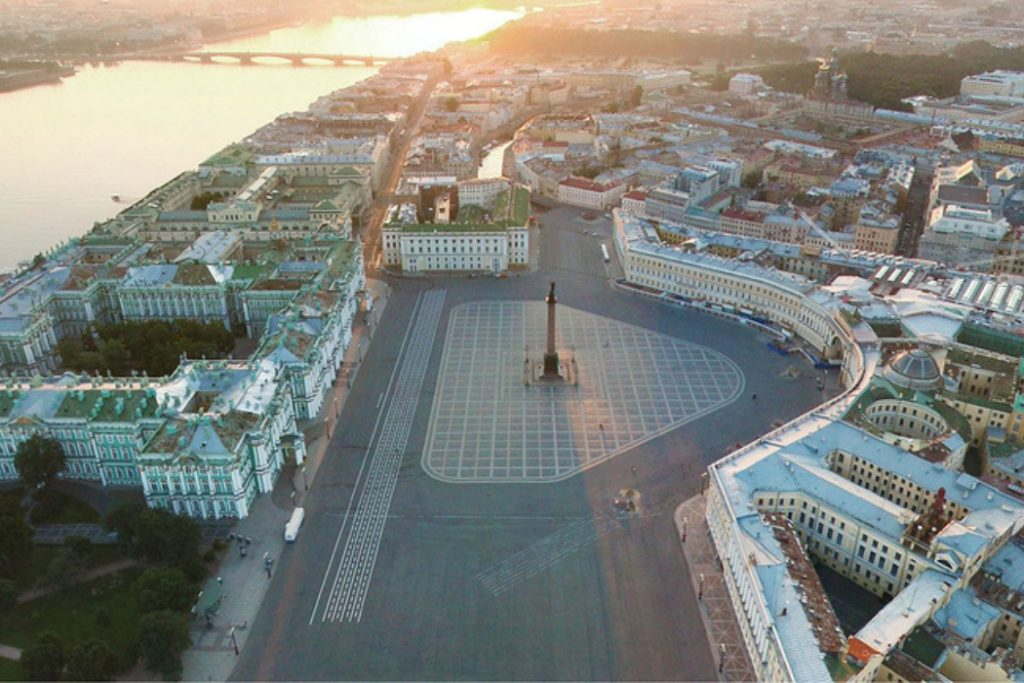 palace square st petersburg russia - panorama view