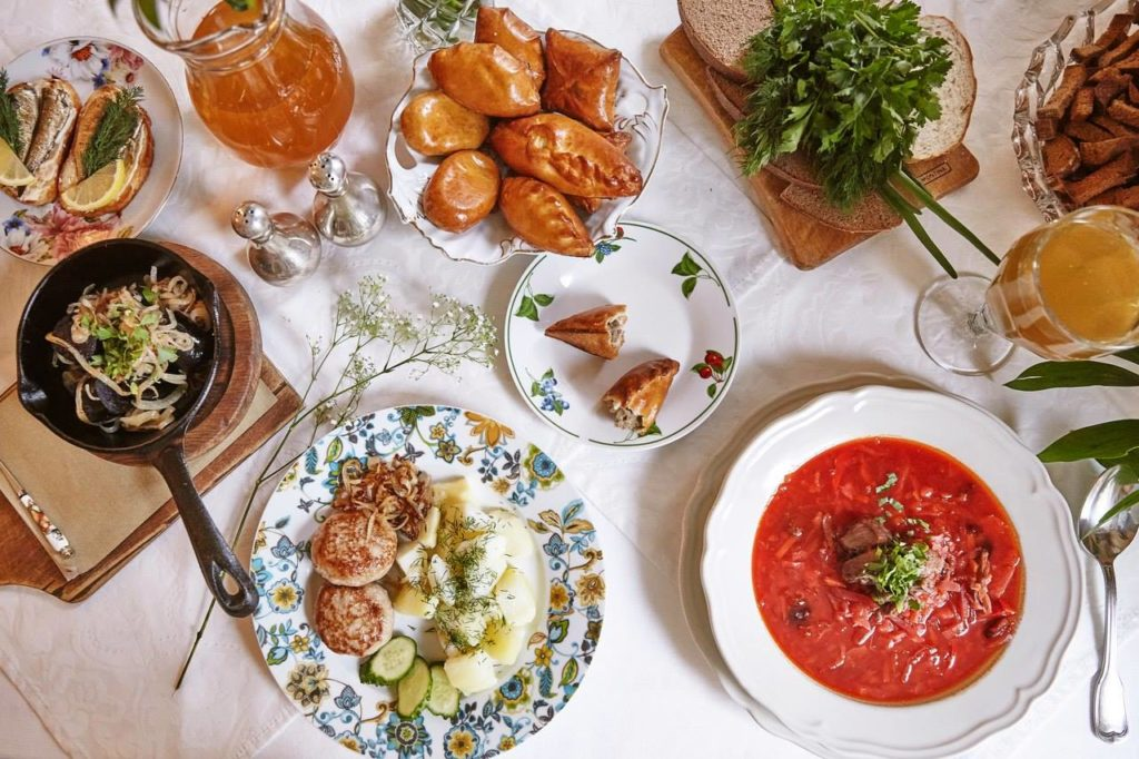 Russian cuisine in Mari Vanna restaurant in St Petersburg