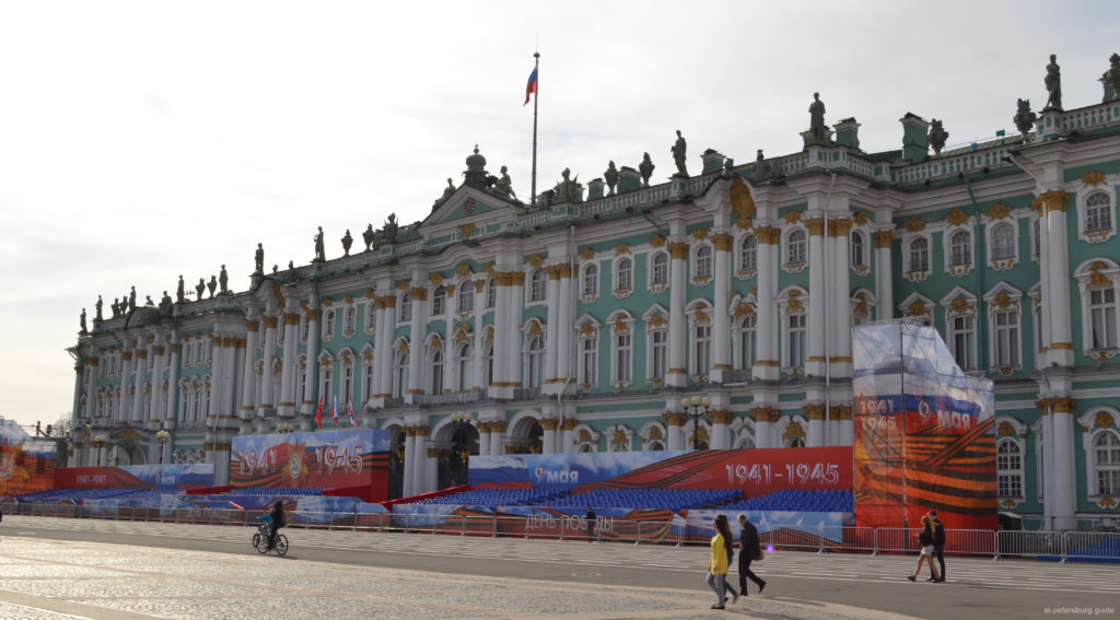 winter palace on the palace square on the celebration of the victory day