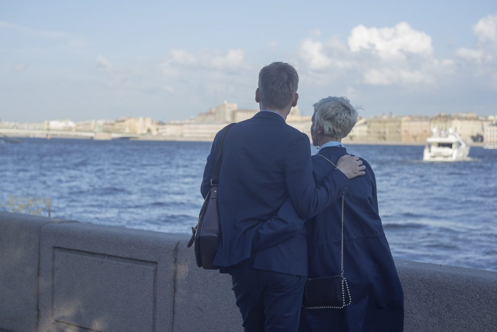 A couple viewing the Neva river in St Petersburg