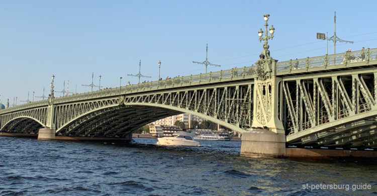 Floating under the Trinity bridge in Saint Petersburg Russia. Boat view from the Neva river cruise