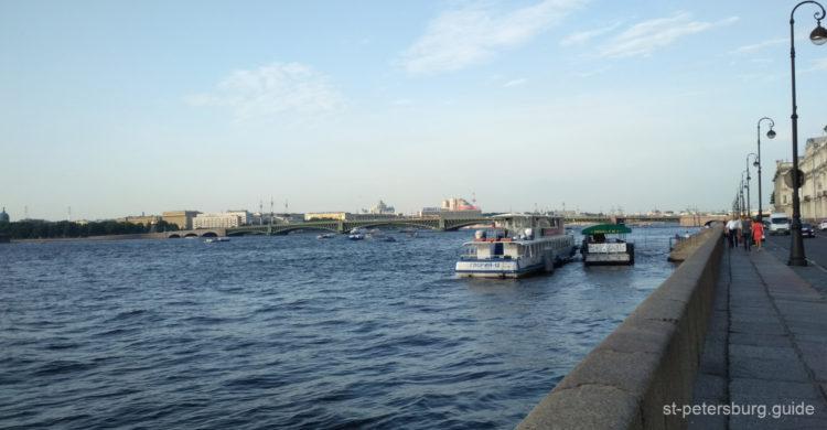 Embankment view on Trinity bridge (Troitsky most). Daytime in Saint Petersburg