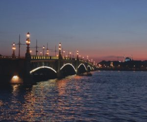 Troitsky bridge in St Petersburg Russia