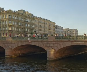 Anichkov bridge in St Petersburg (panorama view)
