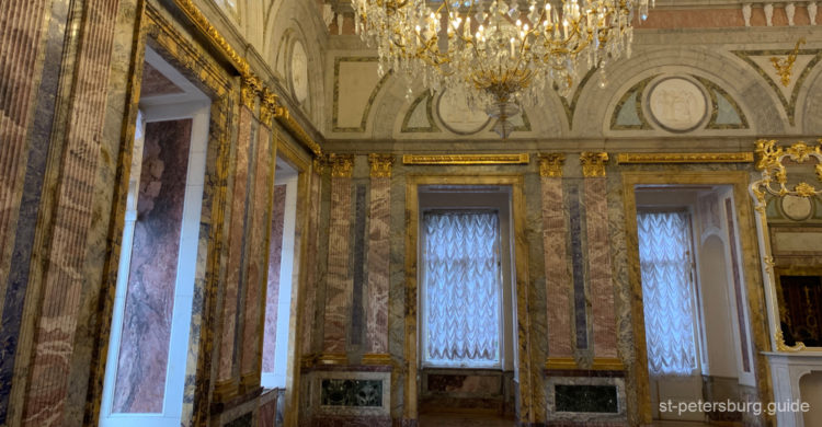 Marble hall of Russian museum. St Petersburg Russia