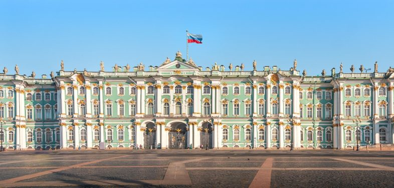 Panorama view on the Winter palace in St Petersburg