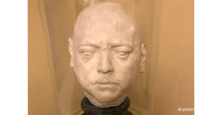 Life-time alabaster mask of the Russian Emperor, Peter the Great. Presented in the Russian Museum in Saint Petersburg