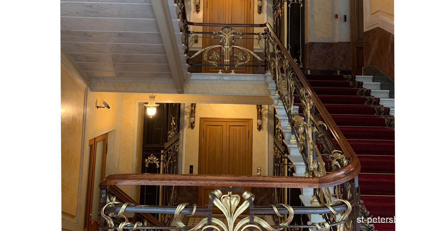 Inside the Singer House (Dom Knigi) in Saint Petersburg Russia. Staircase