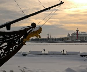 The winter view on the Spit (Strelka) of Vasilievsky island