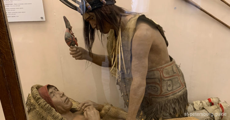 Shaman exhibit in Kunstkamera, Anthography museum in St Petersburg Russia