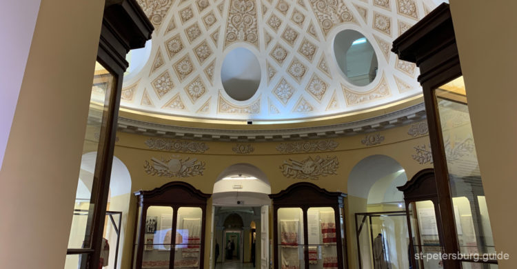 Hall of Kunstkamera museum. Ceiling and one of the exhibition rooms. St Petersburg, Russia