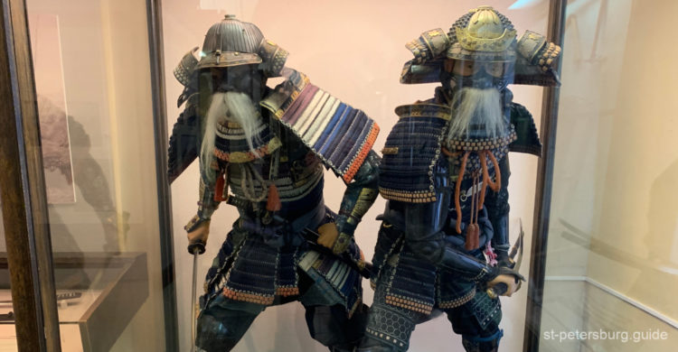Samurai in national dresses. Exhibit in Kunstkamera in St Petersburg Russia