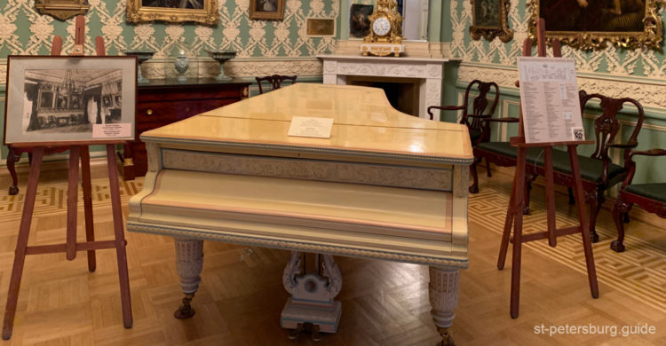 Rubinstein grand piano in The Museum of Music in the Sheremetev Palace. Saint Petersburg Russia