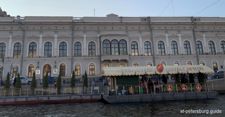 External facades of Shuvalov Palace. Water view on the Faberge museum in Saint Petersburg Russia