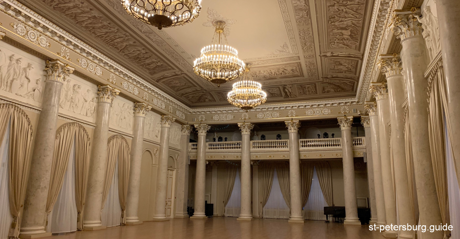 White hall with columns. Shuvalov Palace in Saint Petersburg Russia