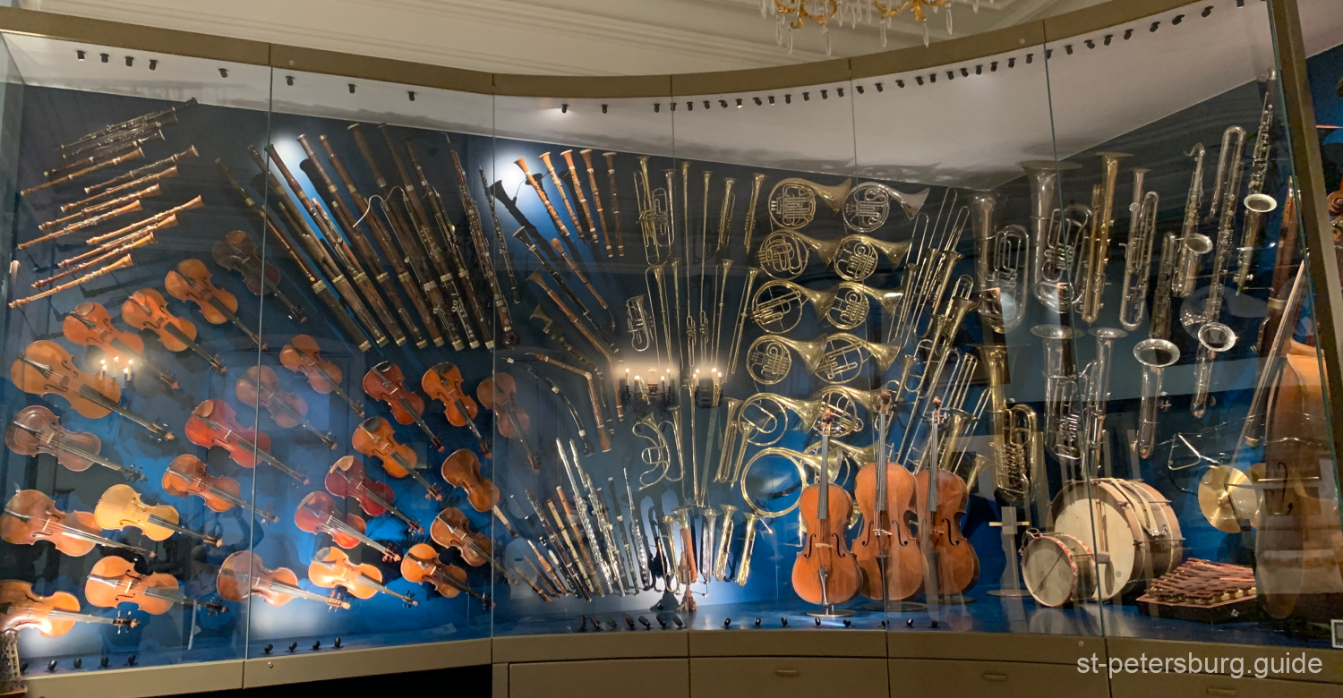 Symphony orchestra instruments as a part of exposition in Sheremetev Palace. Saint Petersburg Russia