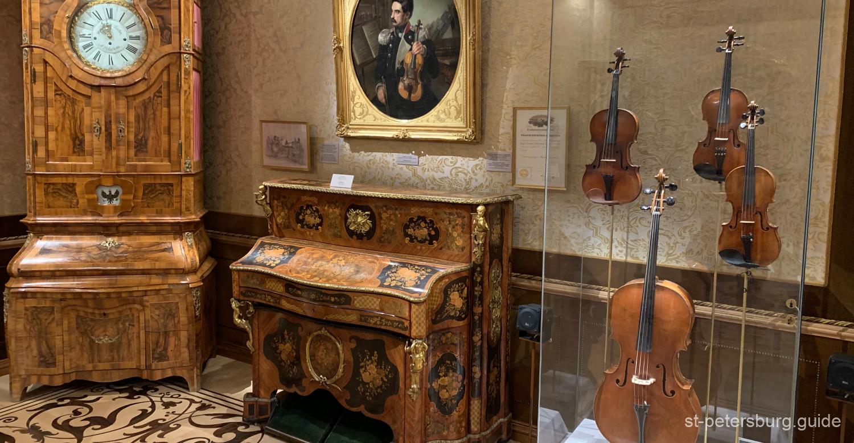 Violin Stradivari in Music Museum. Sheremetev Palace in St Petersburg Russia
