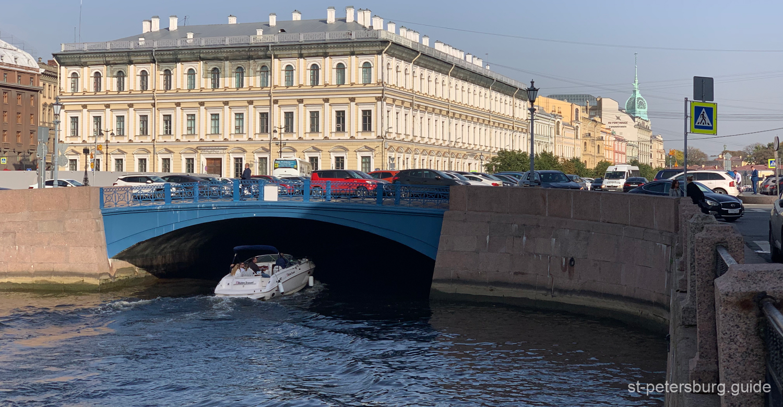 Blue bridge in the alignment of Voznesenskaya street. Saint Petersburg Russia