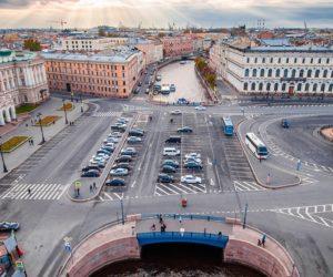 Blue bridge in Saint Petersburg Russia