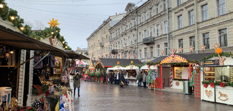 Christmas market in Saint Petersburg Russia
