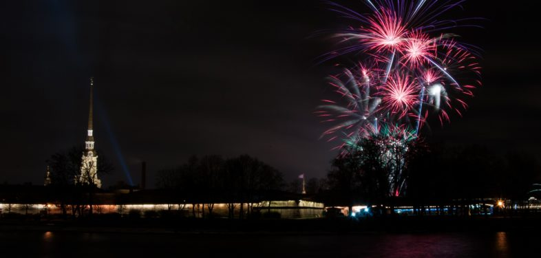 Fireworks next to Peter and Paul Fortress in Saint Petersburg, Russia