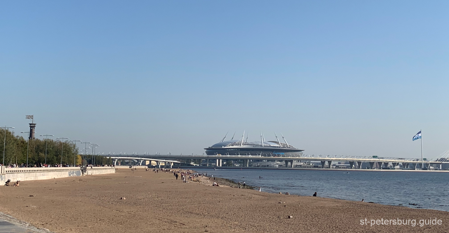 Gazprom Arena from a coastline of the 300th Saint Petersburg Anniversary Park