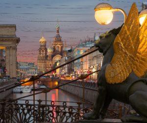 Bank Bridge in Saint Petersburg, Russia