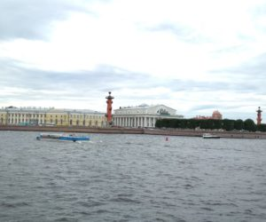 The yellow building of Zoological museum is well seen from a boat.