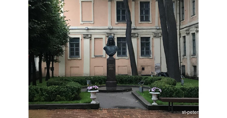 Bust of Duke Menshikov in the yard of Meshikov Palace in Saint Petersburg Russia