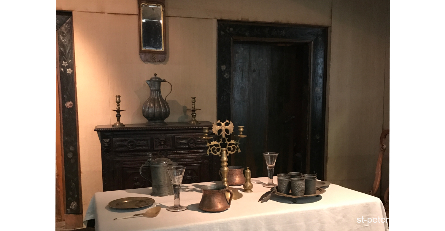 Dining room in the Cabin of Peter the Great in Saint Petersburg Russia. Authentic decorations and inner interiors.