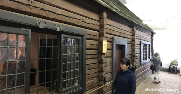 Wooden hut in the active museum Cabin of Peter the Great in Saint Petersburg Russia
