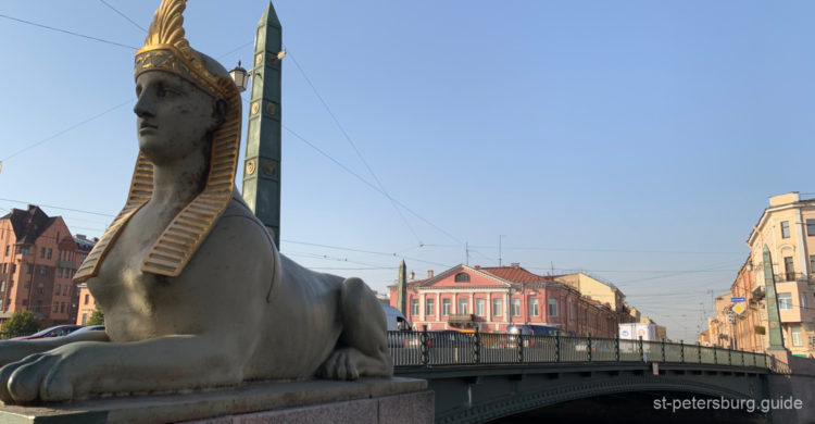 Sphynx on the Egyptian bridge in Saint Petersburg Russia