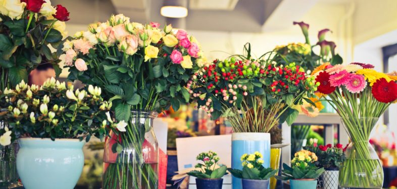 Assorted flower arrangements in the shop