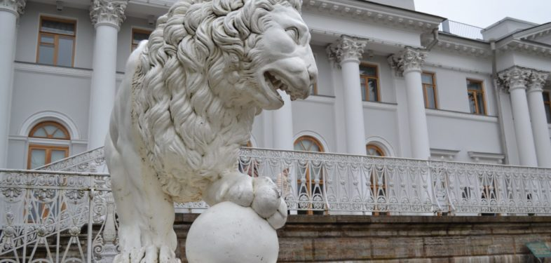 Lion statues in Saint Petersburg Russia