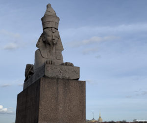 Sphinxes sculpture on Saint Petersburg promenade