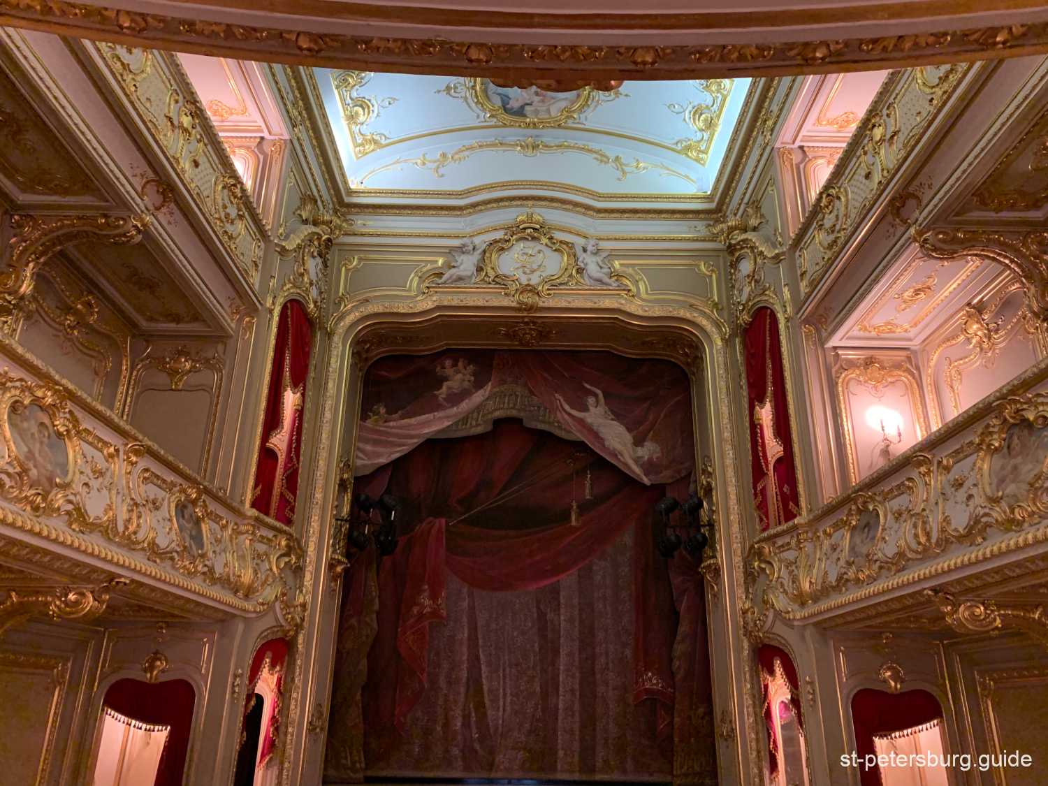 Curtains and interior decorations of the Yusupovs Palace Theatre in Saint Petersburg