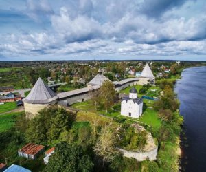 The fortress of Old Ladoga from a bird-eye view