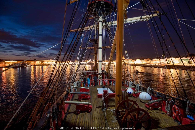 Night view on Saint Petersburg from Poltava battleship