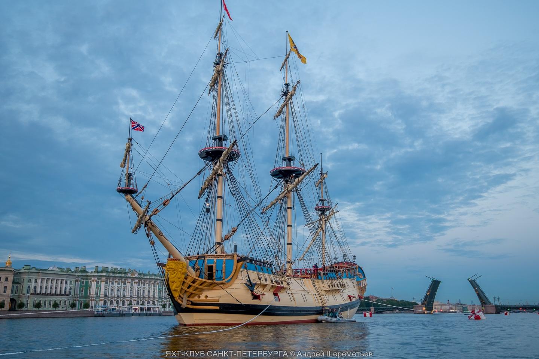 Poltava battleship in front of Winter Palace in Saint Petersburg, Russia